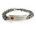 D- Style ID Bracelet with wide chain and red emblem.