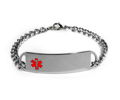 D- Style Stainless Steel ID Bracelet with embossed emblem.