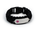 Black Paracord Medical ID Bracelet with Pink Medical Emblem.