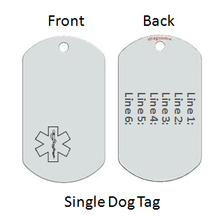 Medical Alert Id Dog Tag with Engraved Emblem