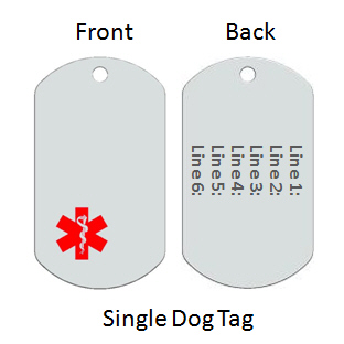 Medical Alert Id Dog Tag with Red Emblem