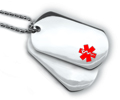 Double Medical Id Dog Tags with Red Emblem