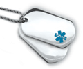 Double Medical Id Dog Tags with Blue Emblem