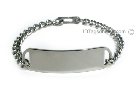 D- Style Travel Personalized Stainless Steel ID Bracelet. - Click Image to Close