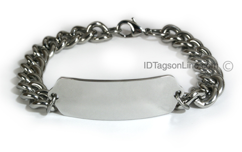 Personalized and Customized ID Bracelet with wide chain. - Click Image to Close