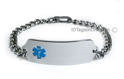 Premium Classic Stainless Steel ID Bracelet with blue emblem. - Click Image to Close