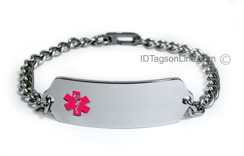 Premium Classic Stainless Steel ID Bracelet with pink emblem. - Click Image to Close
