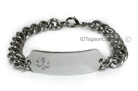 Medical ID Bracelet with wide chain and Clear Emblem - Click Image to Close
