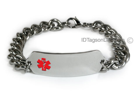Classic Stainless Steel ID Bracelet with wide chain. Red emblem. - Click Image to Close
