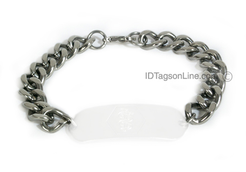 "Wide Stainless Steel Bracelet chain (.4"" or 10 mm wide). - Click Image to Close"