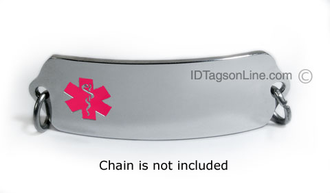 Premium Medical ID Plate with pink Emblem. - Click Image to Close