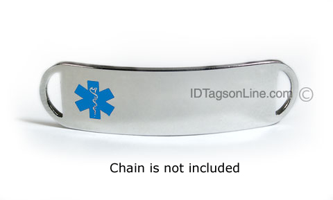 Premium Stainless Steel ID Tag with Blue emblem, D - Style. - Click Image to Close