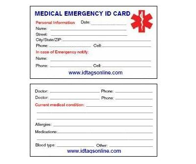 Single Medical ID wallet card. - Click Image to Close