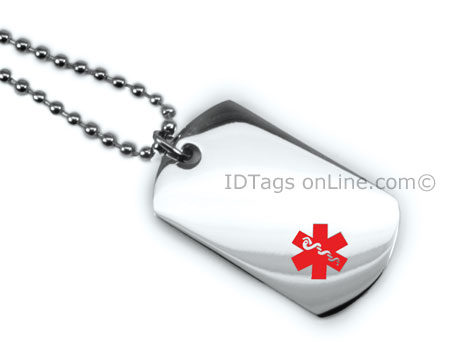 Premium Medical Mini Dog Tag with red medical Emblem. - Click Image to Close