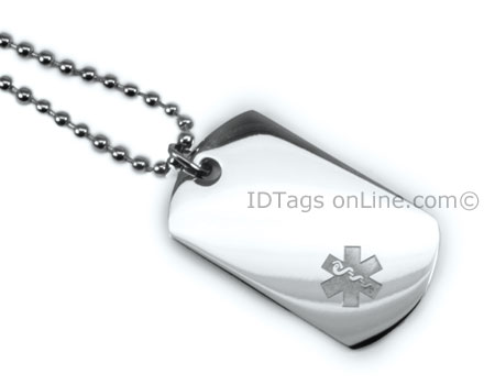 Premium Medical Mini Dog Tag with clear medical Emblem. - Click Image to Close