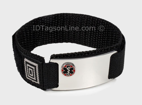Stainless Steel Sport ID Bracelet with raised Medical Emblem - Click Image to Close