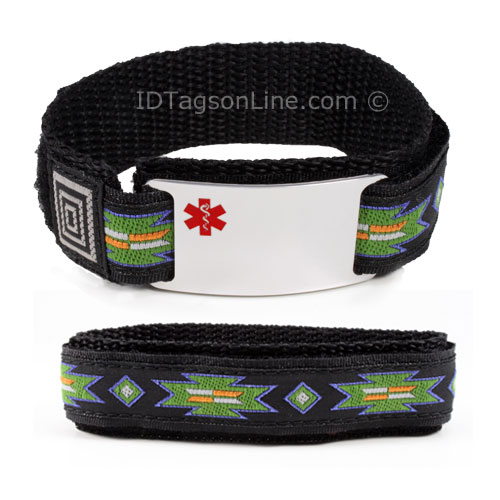 Stainless Steel Sport ID Bracelet with colored Medical Emblem - Click Image to Close