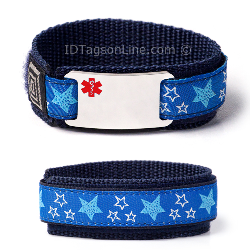 "Kids Sport Medical ID Bracelet with Red Emblem. Size 6.5"" Max - Click Image to Close"