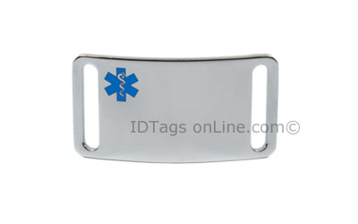 Sport ID Tag with blue Medical Emblem (6 lines of engraving). - Click Image to Close