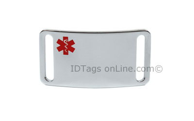 Sport ID Tag with red Medical Emblem (12 lines of engraving). - Click Image to Close