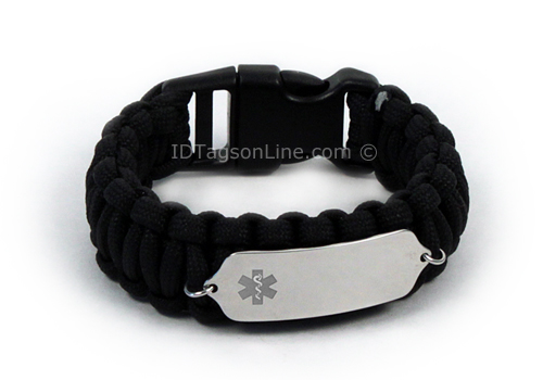 Black Paracord Medical ID Bracelet with Clear Medical Emblem. - Click Image to Close