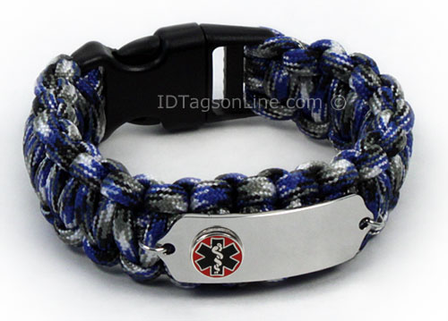 Blue Camo Paracord Medical Bracelet with Raised Medical Emblem - Click Image to Close