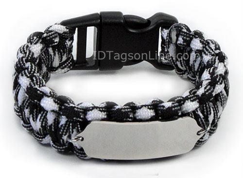 Zebra Paracord Sport and Travel ID Bracelet. - Click Image to Close
