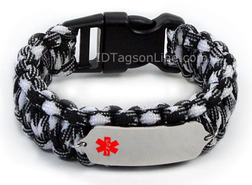 Zebra Paracord Medical ID Bracelet with Red Medical Emblem. - Click Image to Close