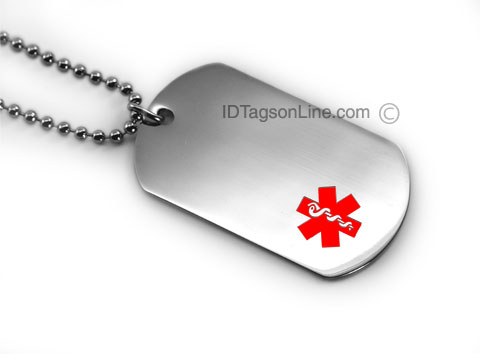 Pisces Healthcare Medical ID Dog Tag (12 lines engraved). - Click Image to Close