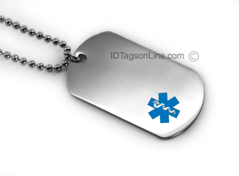 Premium Medical ID Dog Tag with Blue emblem (6 lines engraved). - Click Image to Close