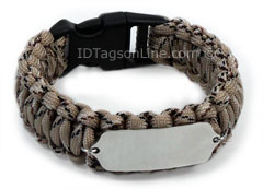 Camo Desert Paracord Sport and Travel ID Bracelet.