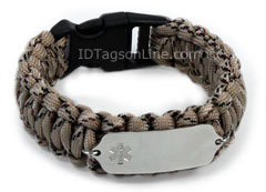 Camo Desert Paracord Medical ID Bracelet with Clear Emblem.