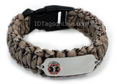 Camo Desert Paracord Medical ID Bracelet with Raised Emblem.