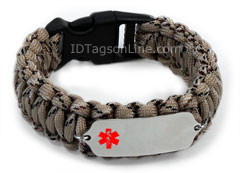 Camo Desert Medical ID Bracelet with Red Medical Emblem.