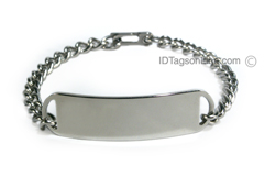 D- Style Travel Personalized Stainless Steel ID Bracelet.
