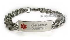 D- Style Medical ID Bracelet with wide chain and red emblem.
