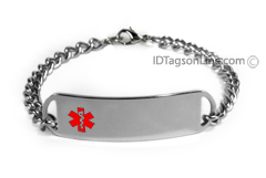 D- Style Medical ID Bracelet with embossed emblem.