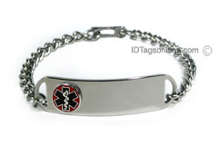 D- Style Stainless Steel ID Bracelet with raised medical emblem.