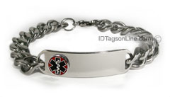 D- Style ID Bracelet with wide chain and raised emblem.