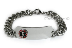 Medical ID Bracelet with raised medical emblem and wide chain.