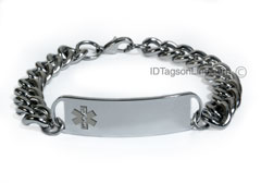 D- Style Medical ID Bracelet with wide chain and clear emblem.