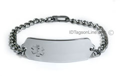 Premium Stainless Steel ID Bracelet with clear emblem.(10 lines)