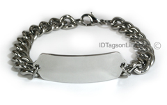 Personalized and Customized ID Bracelet with wide chain.