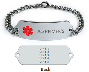 Alzheimer S Medical Id Bracelet With 5 Lines Engraving