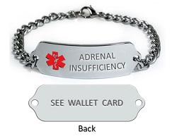 Adrenal Insufficiency Medical ID Bracelet.