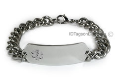Medical ID Bracelet with wide chain and Clear Emblem
