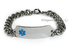 Medical ID Bracelet with wide chain and Blue Emblem