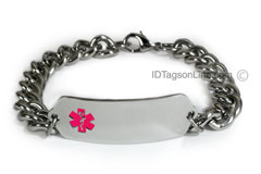 Medical ID Bracelet with wide chain and Pink Emblem
