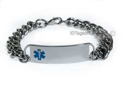 D- Style Medical ID Bracelet with wide chain and blue emblem.