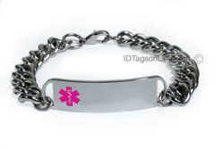 D- Style ID Bracelet with wide chain and pink emblem.